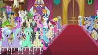 Crowd of wedding guests left side S5E9
