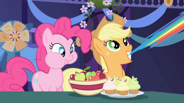 File:Pinkie Pie eating and Applejack pulling Rainbow's tail S1E1.png