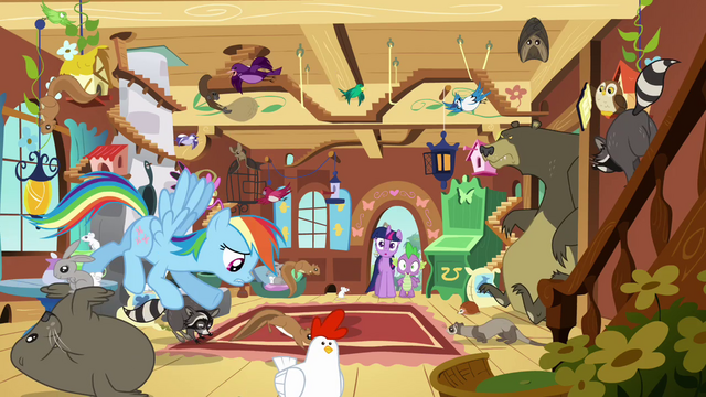 File:Rainbow Dash and wild animals S03E13.png