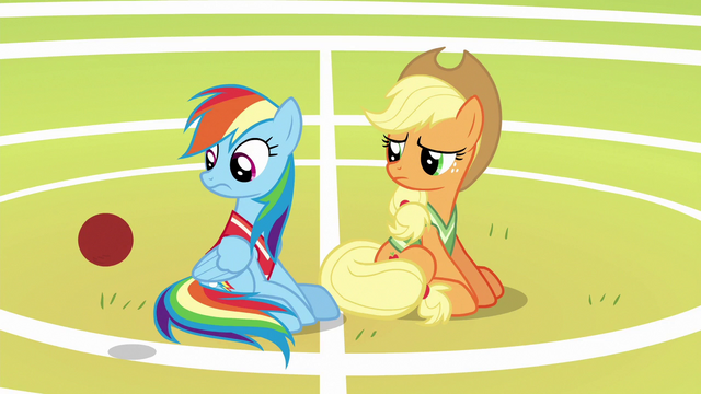 File:Softball rolls past Rainbow and Applejack S6E18.png