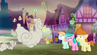 Fluttershy leaving behind chicken-shaped smoke S5E21