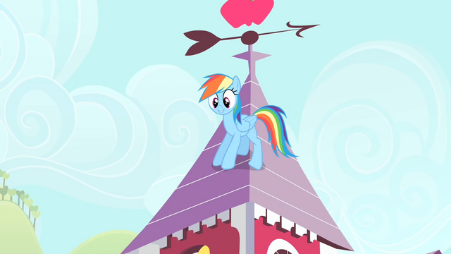 File:Rainbow on top of Applejack's house S4E07.png