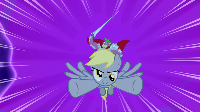 File:Sir Spike and Derpy swoop into battle S5E13.png