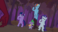 Twilight, Rarity and Rainbow Dash in fighting stance S02E21