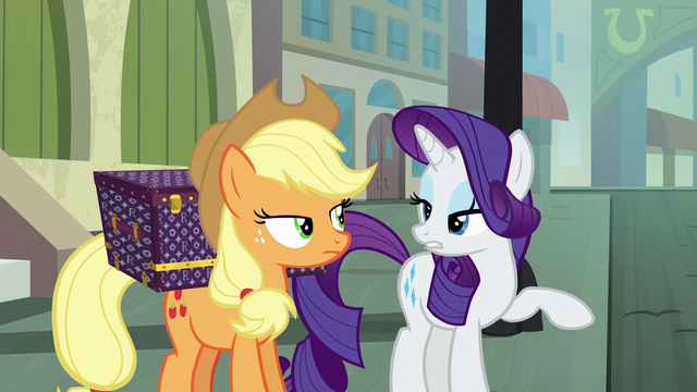 "File:Applejack and Rarity ""no moseying"" S5E16.png"