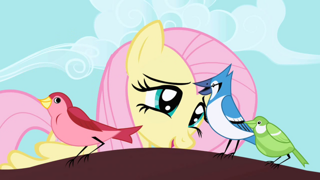 File:Fluttershy talking to bird S01E01.png