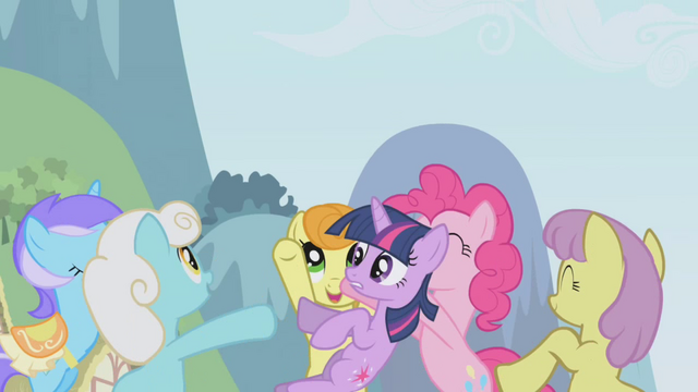 File:The ponies throwing Twilight up in the air S1E3.png