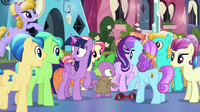 File:Crystal Ponies gathering around Spike S6E16.png