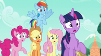 Rarity's friends gasp in shock S6E9
