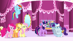 Rarity's friends looking worried of Rarity about to read the article S6E9.png