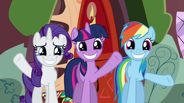 File:Rarity, Twilight, and Rainbow Dash waving goodbye S02E21.png