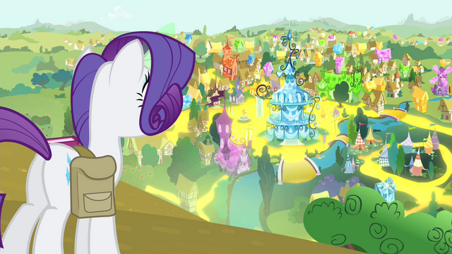 File:Rarity looking out over 'Rarified' Ponyville S4E23.png