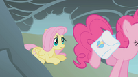 Fluttershy observes Pinkie jump over the cliff S1E07