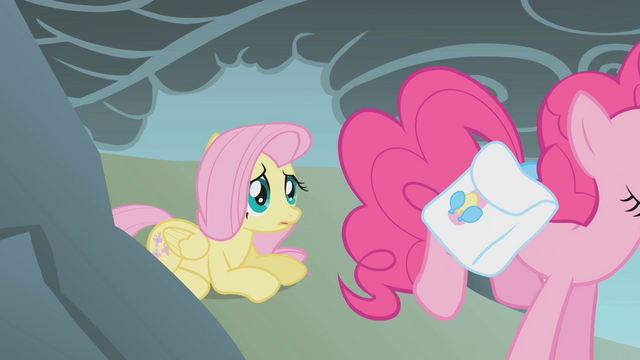 File:Fluttershy observes Pinkie jump over the cliff S1E07.png