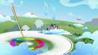 Young Rainbow Dash does the Sonic Rainboom S5E26