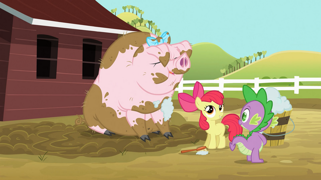 File:Spike and Apple Bloom washing pig S03E09.png