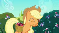 Applejack chowing down on a crystal berry S3E1