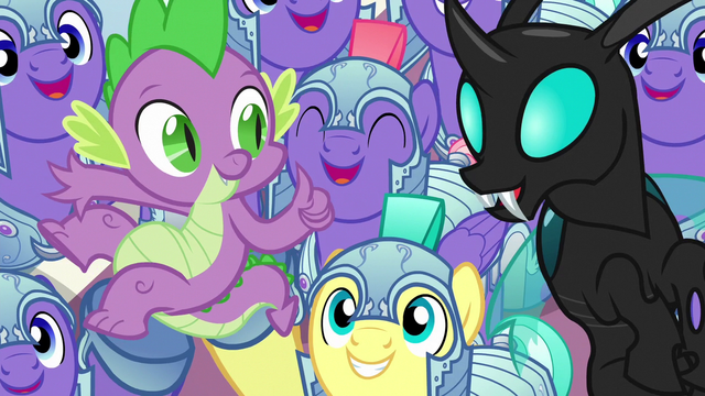 File:Royal guards cheer for Spike and Thorax S6E16.png