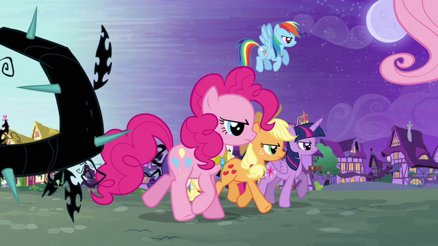File:The Mane Six march into Ponyville S4E01.png