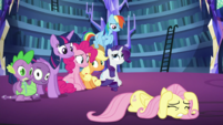 Fluttershy cowering; the others confused S5E21