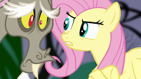 Fluttershy using Stare on Discord S4E02