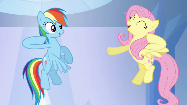 "File:Rainbow Dash and Fluttershy ""chaaa!"" S03E12.png"