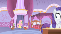 Rarity alarmed to see Fluttershy in doorway S1E17