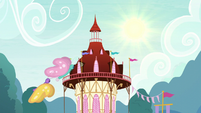Shining sun over Ponyville town hall S5E3