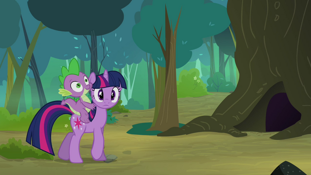 File:Twilight with Spike walking in the woodland S3E03.png