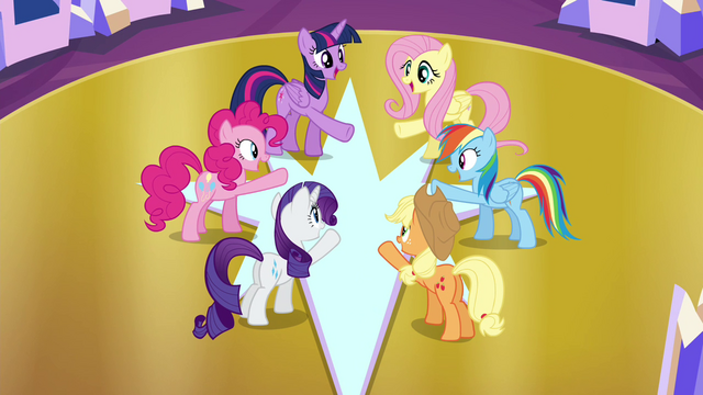 File:Mane 6 at the center of the throne room S4E26.png