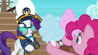 Pinkie Pie offers cotton candy to Rarity S6E22