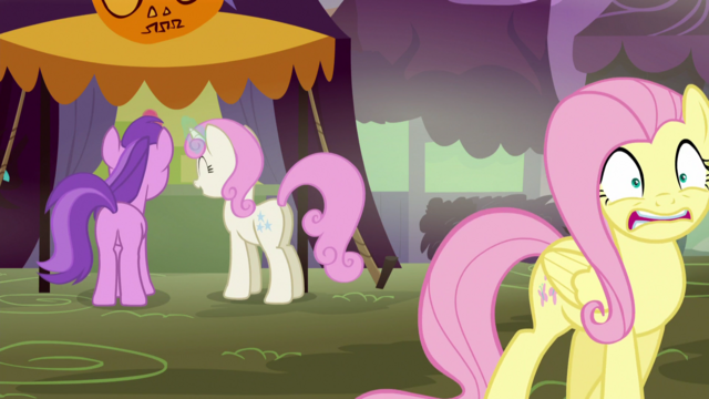 File:Fluttershy backing away; Amethyst Star & Twinkleshine giggle S5E21.png