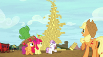 Hay bale stack about to topple S5E6
