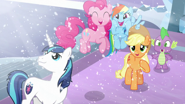 File:Shining, Pinkie, RD, AJ, and Spike happy seeing Flurry Heart S6E2.png