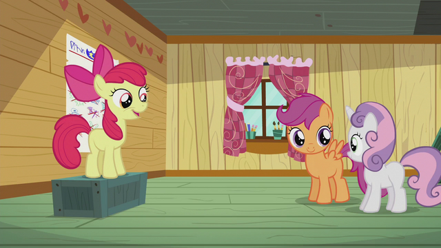 "File:Apple Bloom sings ""We've been searchin' for our cutie marks"" S5E18.png"