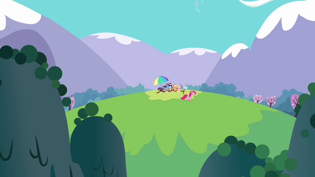 File:Main ponies having a picnic S3E7.png