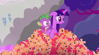 Twilight and Spike look to their left S5E26