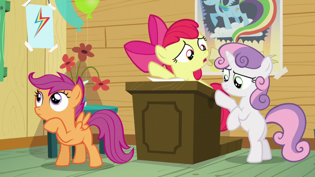 "File:Apple Bloom ""who's gonna run the Manehattan CMCs?"" S5E04.png"