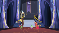 Discord, Spike, and Mac back in the castle lobby S6E17