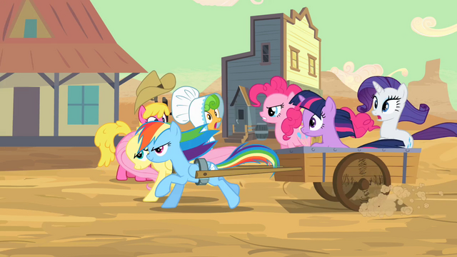 "File:Pinkie Pie and friends ""follow that stagecoach!"" S2E14.png"
