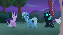 Starlight, Trixie, Thorax look at Discord S6E25