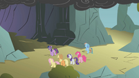 Twilight addresses her friends outside the cave S1E07