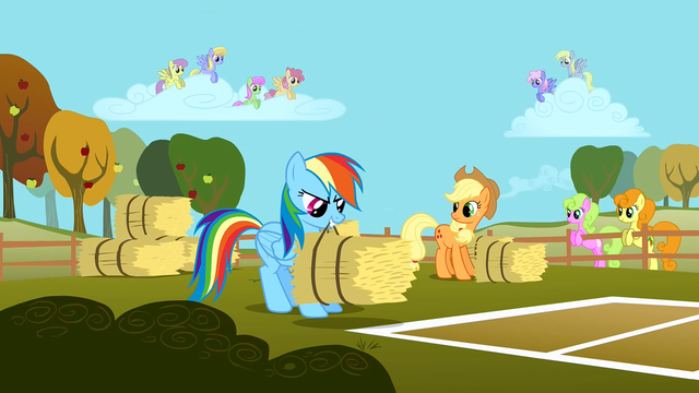 File:Rainbow Dash tossing a bale of hay S1E13.png
