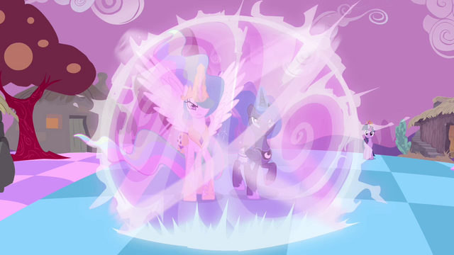 File:Celestia and Luna preparing to defeat Discord S4E02.png