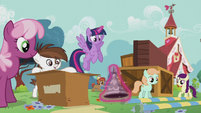 Ponies work together to rebuild the playground S5E18