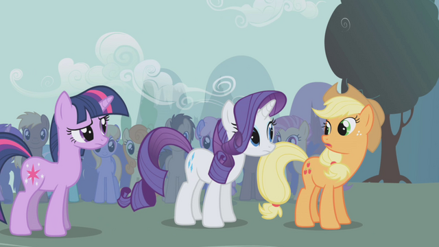 File:Twilight, Rarity, and Applejack talking S1E06.png