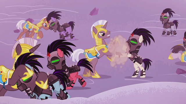 File:Royal guards and Crystal Ponies brawl S5E25.png