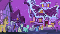 Line of ponies outside Sugarcube Corner S4E14
