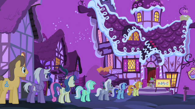 File:Line of ponies outside Sugarcube Corner S4E14.png
