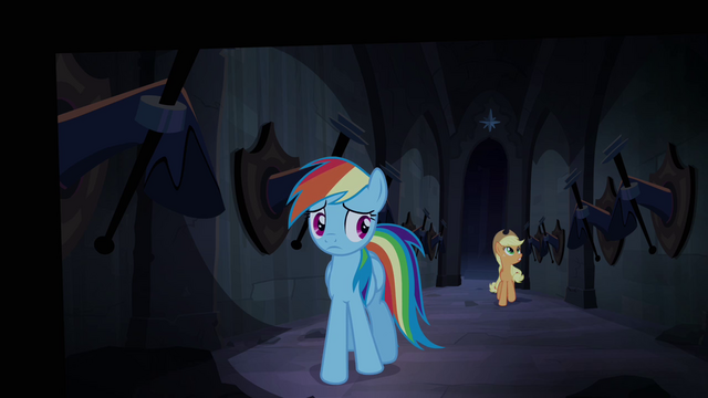 File:Rainbow Dash and Applejack walking through Hall of Hooves S4E03.png